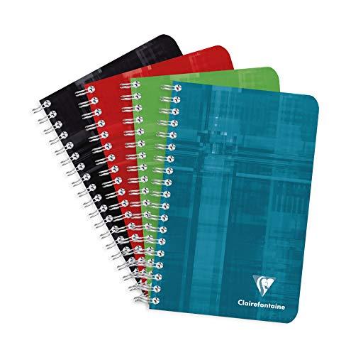 Clairefontaine 8602C - Un carnet à spirale 180 pages 11x17 cm 90g petits carreaux, couverture carte pelliculée couleur aléatoire