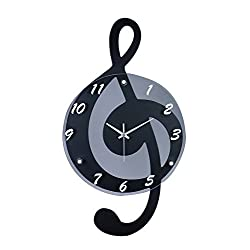 Broadway Gift G-Clef Music Note Outline Black with Gray 12 x 21 Resin Stone Hanging Wall Clock