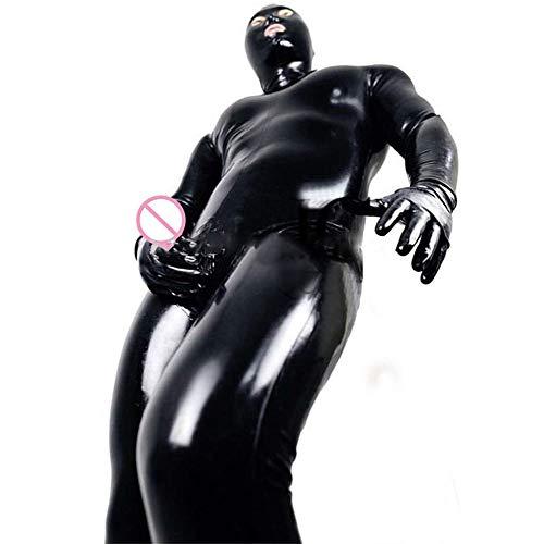 LNNII - Sexy Männer Und Frauen Wet DS Look Catsuit Kleidung Erwachsene Enge Kunstleder Trikot Gefangener Cosplay Kostüm Handschuhe Maske Trikot,Schwarz,XL