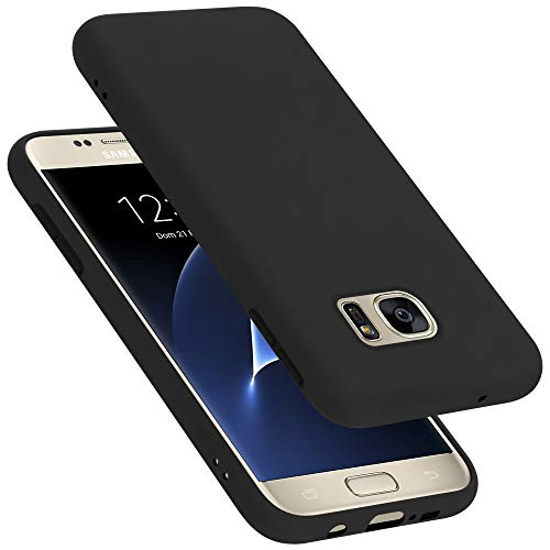Cadorabo Custodia per Samsung Galaxy S7 in LIQUID NERO - Morbida Cover Protettiva Sottile di Silicone TPU con Bordo Protezione - Ultra Slim Case Antiurto Gel Back Bumper Guscio