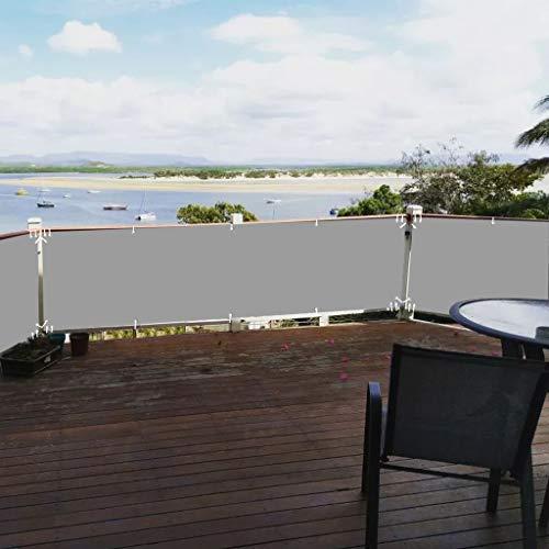 Aiyaoo Paravento per Balconi 80x850cm Windschutz Wasserdicht Blickdicht Balkonumspannung mit Ösen Nylon Kabelbinder Kordel Deko für Balkongeländer Garten Grau