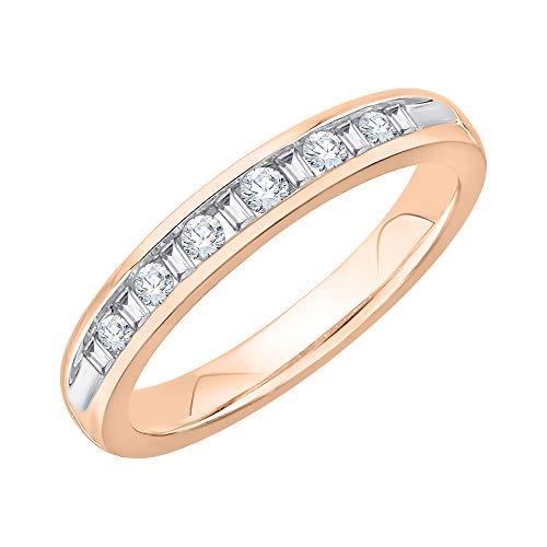 KATARINA Alianza de boda de diamantes de talla redonda y baguette en oro de 14 quilates (1/4 cttw, J-K, SI2-I1)