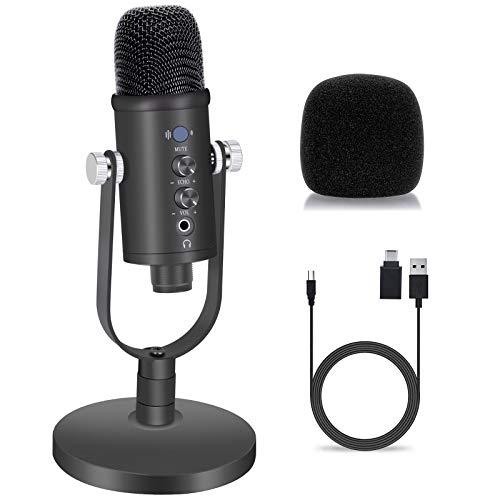 Micrófono USB, condensador profesional, micrófono para juegos, Plug & Play con un solo toque silenciador y filtro pop para grabaciones, podcast, radiodifusión, juegos, stream en directo en YouTube.