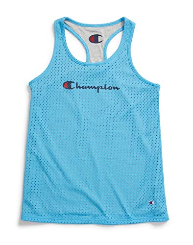 Champion Women's Reversible Mesh Jersey Tank, Active Blue/Oxford Grey Heather, Small