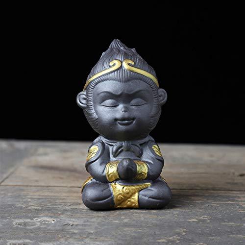 KKONION Ceramic Monkey King Figurine Housewarming Gifts Cute Sun Wukong Statue Chinese Tea Pet for Home Office Car Decor