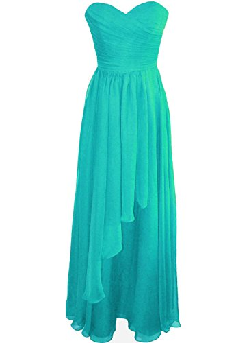 Lorderqueen Women's Pleat Sweetheart Long Bridesmaid Dresses Size 16 Tiffany Blue