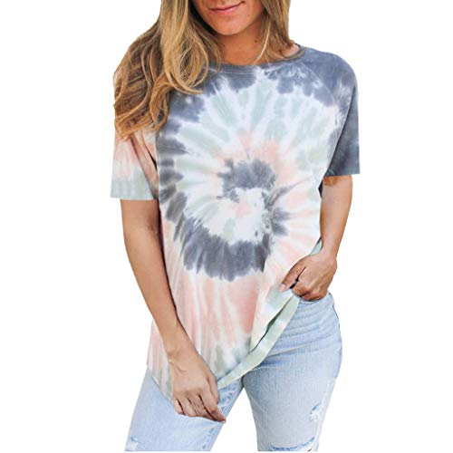 Rifuli Damen Tie Dye Bedrucktes Kurzarm-Hemd mit Rundhalsausschnitt Loose Flowy Blouses Tee Tops