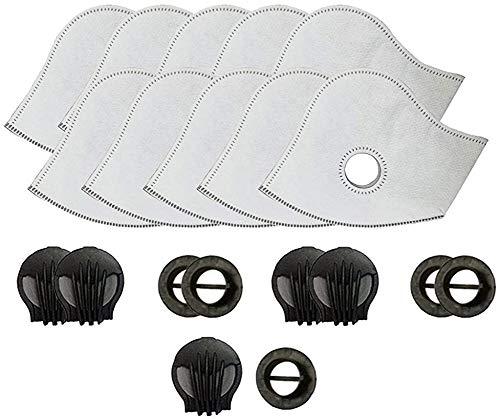 Juego de 10 filtros de carbón activado para la mayoría de filtros de ciclismo con 4 válvulas de escape de repuesto, color blanco