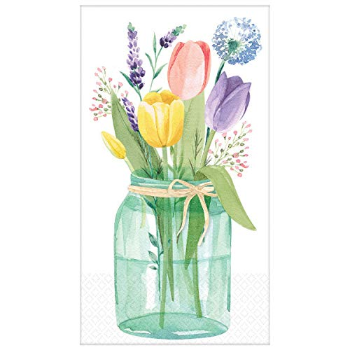 Tulip Garden Disposable Guest Towels | Two Pack of 16-2-Ply Buffet Napkins