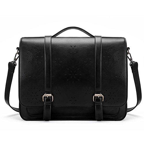 ECOSUSI Women Briefcase PU Leather Laptop Backpack Shoulder Computer Bag Messenger Satchel fit 14 inch Laptop, Black