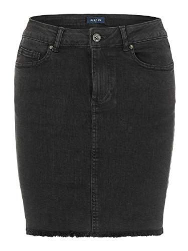 PIECES Female Minirock Fransensaum und Jeans SBlack Denim