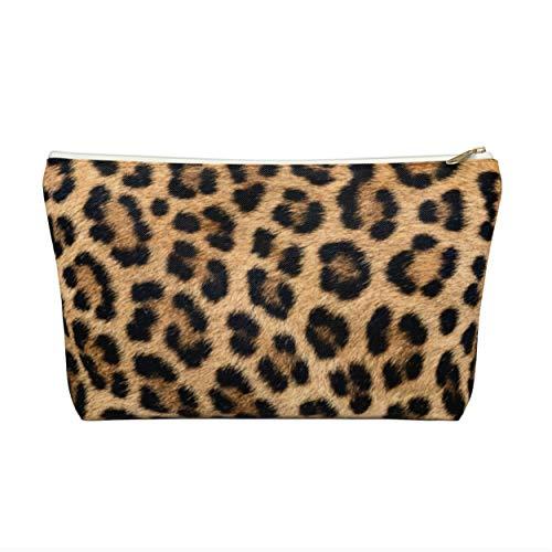 Trousse zippée à motif léopard imprimé animal pour cosmétiques, crayons, maquillage, imitation camel, noir à pois caramel