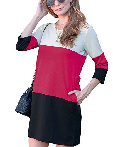 Doublju Women's 3/4 Sleeve Color Block French Terry Dress with Side Pocket WHITEBURGUNDY Medium