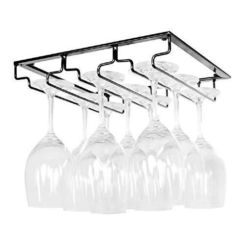 FIAMER Wine Cup Holder Table Decoration Storage Hanger Metal Organizer for Bar Kitchen 3 Rows Stemware Rack Under Cabinet Stainless Steel Hanger Storage Shelf Black