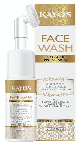 Kayos Facewash for Acne Prone Skin with Salicylic Acid, Tea Tree and Neem Oil Foaming Face Cleaner – 150mL