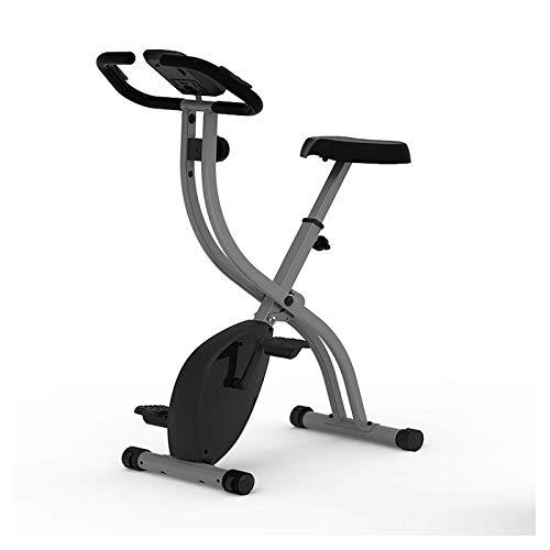 WGFGXQ Bicicleta estática Plegable de más de 120 kg con Pantalla LCD, Bicicleta de Fitness para Deportes de Interior silenciosa, Equipo de Deporte de Fitness para Ejercicio de Spinning