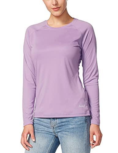 BALEAF Women's Long Sleeve Shirts UPF 50+ Sun Protection SPF Quick Dry Lightweight T-Shirt Outdoor Hiking Runing Fishing Purple Size L