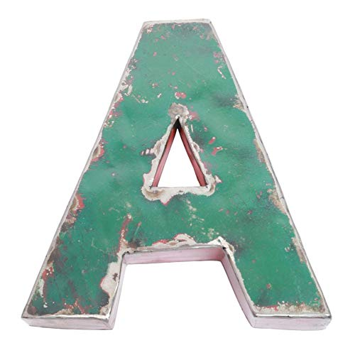 Boogs Metallbuchstabe A im Vintage Stil | Retro Buchstaben aus Metall | Industrial Deko Metallbuchstaben | Dunkelgrün auch in Anderen Farben