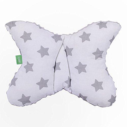 LULANDO Babykissen für einen gesunden Schlaf 40x30 cm, atmungsaktives Kissen für Kinder, ergonomisches Babykopfkissen, Kuschelkissen Made in EU, Kinderwagen-Kissen mit Tasche Grey - Grey Stars