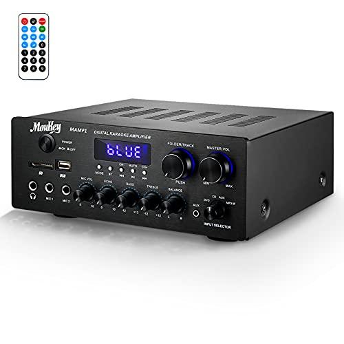 Amplificateur de Puissance Peak Power 220 Watt, Moukey Bluetooth MAMP1 Récepteur Audio stéréo Double Canal/Surveillance/USD/SD AUX/MIC in/Echo Radio LCD pour Le Divertissement à Domicile