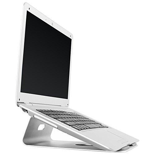 RICOO MacBook Ständer Alu Laptopständer Air Pro Stand MTS-01 Ergonomisch Mischpultständer Kochbuchhalter Tablethalterung Notebookständer Kühlung / 11/28cm - 15/38cm Zoll/Aluminium Silber Grau