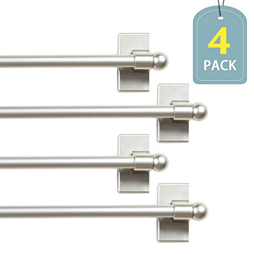 H.VERSAILTEX Magnetic Curtain Rod Multi-Use Window Curtain Rods for Valances Appliance Curtain Rods for Hand Towels with Petite Balls Adjustable Length from 9-16 Inch, 1/2' Diameter, Nickel, 4 Packs