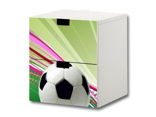 Fußball Möbelsticker/Aufkleber - S2K12 - passend für die Kinderzimmer Kommode mit 2 Fächern/Schubladen STUVA von IKEA - Bestehend aus 2 passgenauen Möbelfolien (Möbel Nicht inklusive)