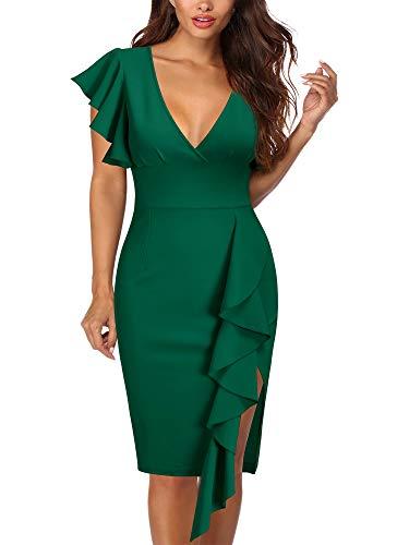 Knitee Women's Deep-V Neck Ruffle Sleeves Cocktail Party Pencil Slit Formal Dress (Dark Green, Small)