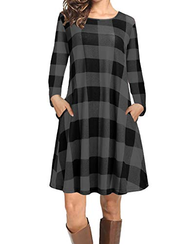 CNFIO Damen T-Shirt Kleider Langarm Plaid Tunika Herbst Freizeitkleider Minikleid mit Taschen C-Dunkel Grau XXL
