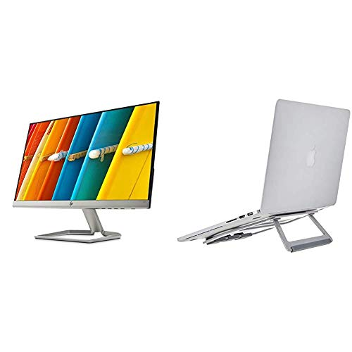 HP 22f Ultraslim Full HD Monitor (1920 x 1080) 21.5 Inch (1 HDMI, 1 VGA) - Silver/Black & Amazon Basics Aluminium Foldable Laptop Stand for Laptops up to 15', Silver
