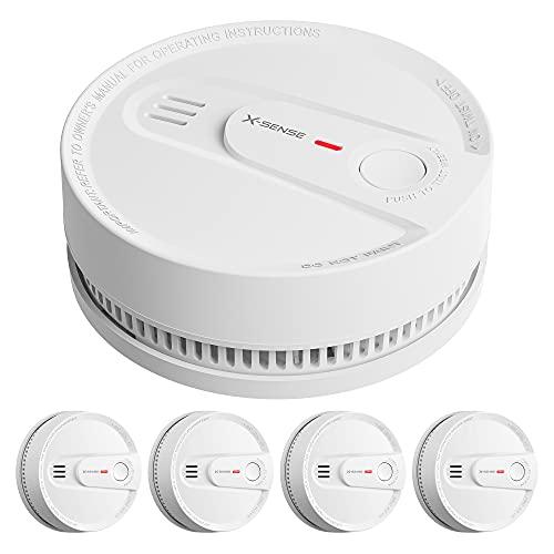 X-Sense Rauchmelder, 10-Jahres Batterie Feuermelder, Photoelektrischer Rauchwarnmelder, LED-Statusleuchte & 85 dB Alarm, Test & Stummschalt-Taste, EN 14604, 5er Set