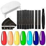 Mumaya 31PCS DIY Nail Glue Pen Set, Nail Lamp Bag Set, Nail Art Brushes Set, Nail Lamp Bag Nail Art Tool, Nail Polish Pen Primer Nail Polish Pen Seal