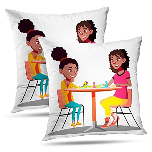 NA Afro Girl Throw Pillow Fundas, Fundas de Almohada Madre Jugando Juegos de Mesa Juntos Familia Mamá Hijo Cojín Afro Uso para Sala de Estar Dormitorio Sofá Oficina Juego de 2, Madre Jugando