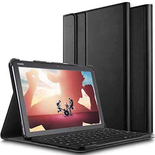 ELTD Clavier Étui pour Huawei MediaPad M5 Lite 10 10.1,[AZERTY], Détachable Wireless Clavier Keyboard Stand PU Case Housse, Noir
