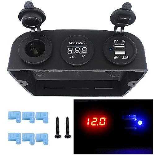YAALO Tent Art Panel 4.2A Dual USB-lader 12V/24V lichtgewicht stekkerdoos LED voltmeter indicator voor auto motorfiets boot marine EEN afstandsbediening RV A zwart