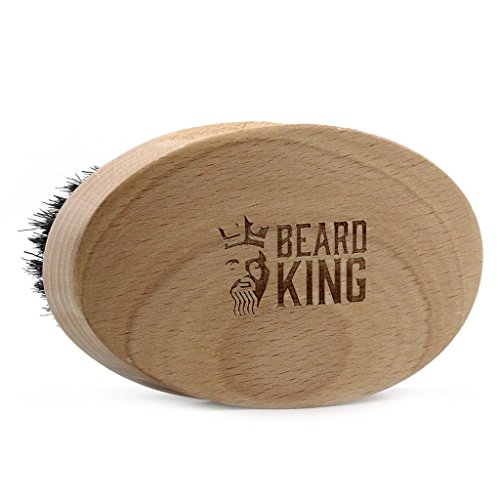 BEARD KING - Beard Brush for Men - Wild Mixed Boar Hairs for Fast Easy Grooming - Step Up Your Beard Styling & Maintenance - Facial Hair Comb - Made From Solid Wood