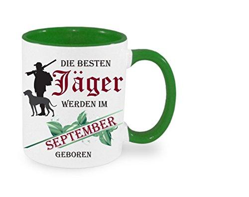 Creativ Deluxe Die besten Jäger Werden im September geboren - Kaffeetasse mit Motiv, Bedruckte Tasse mit Sprüchen oder Bildern - auch individuelle Gestaltung nach Kundenwunsch
