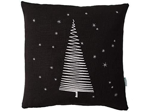 Kissenbezug, Tannenbaum Schneeflocken Stickerei weiß, Leinen schwarz,40x40cm,45x45cm,50x50cm,Leinenkissen,Weihnachtsdeko,Weihnachtsgeschenk,Weihnachtsbaum