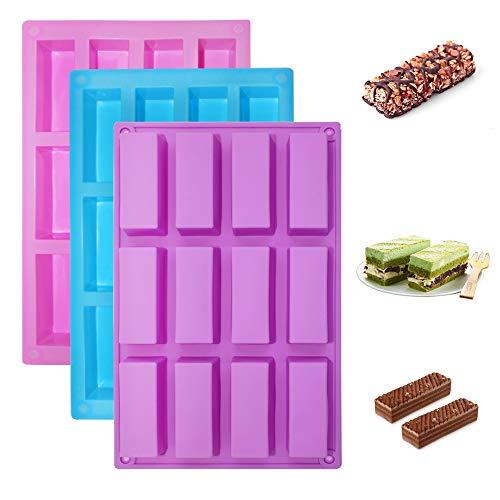 Senhai 3er Pack schmale rechteckige Silikonformen, 12-Hohlraum DIY Proteinriegel Energieriegel Müsliriegelhersteller Schokoladenkuchen Laib Brownie Käsekuchen Backformen