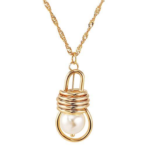 Hanger Ketting Vergulde Lamp Parel Gepersonaliseerde Lange Kettingen Gouden Ketting Sieraden Gift voor Vrouwen Meisjes Vrouw Vriend Vrienden