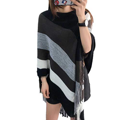 Pullover en trui voor dames met V-hals pullover met franjes, veelzijdig bruikbaar, maat in Koreaanse stijl, Justtime Eén maat Donker Groen