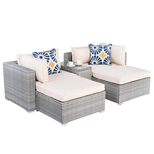 Aiden Hixson Patio Furniture Set 5 Pcs Conversation Set Rattan Chair PE Wicker Set with Storage Glass Top Table Throw Pillows