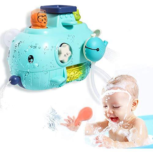 U-A Juguetes de baño para bebés, Juguete de Pared de baño de Ballena 5 en 1, Juguetes de bañera con Cascada, rociador de Agua y Giro, Regalo de Ducha para niños pequeños, niños de 1 2 3 4 años