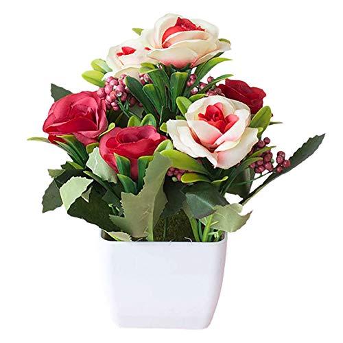 lamta1k Künstliche Pflanze, UV-beständige Pflanzen, europäischer Stil, Teerose, künstlicher Blumentopf, Bonsai, Gartentisch, Raumdekoration – Rot