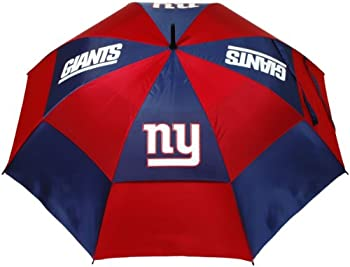 Team Golf NFL 62  Golf Umbrella with Protective Sheath Double Canopy Wind Protection Design Auto Open Button New York Giants