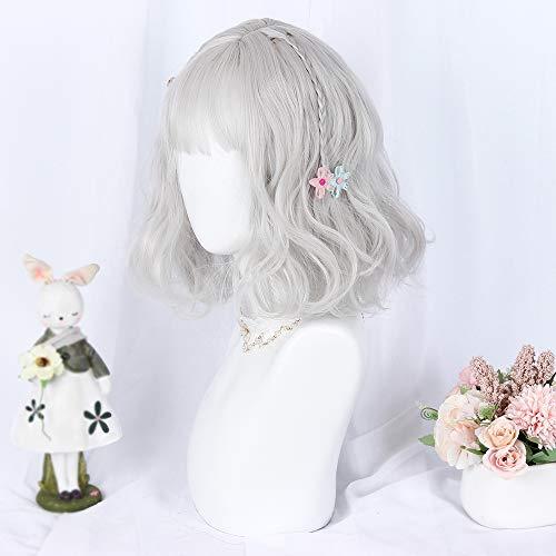 MCOSER 35cm Japan and South Korea Wig Air Bang Paragraph With Daily Harajuku Lolita Wig (Light gray)