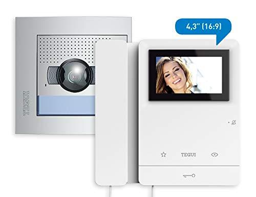 TEGUI - BTICINO Kit Video 1 Vivienda 2 Hilos, Placa SFERA New y un Monitor Serie 8
