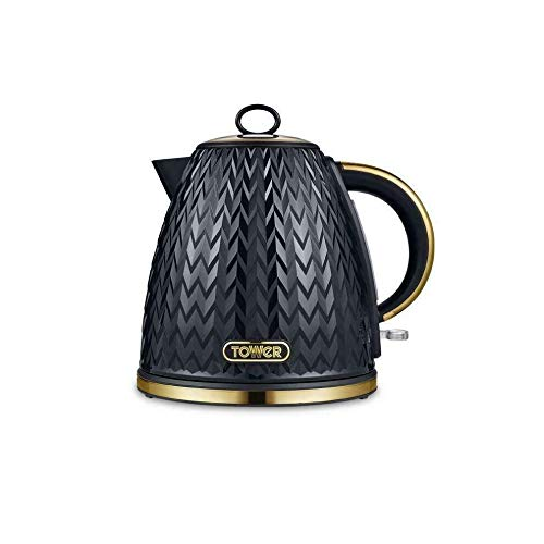 Tower Empire 3kW 1.7L Pyramid Kettle, BLACK with Brass Accents