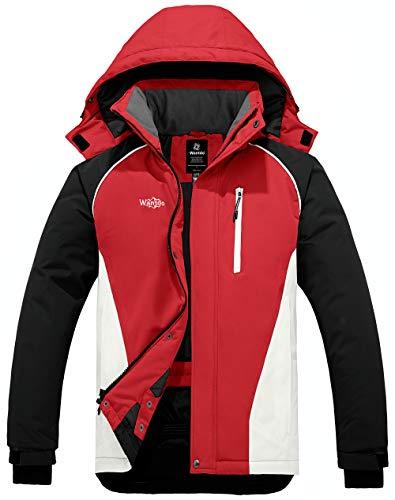 Wantdo Men's Mountain Waterproof Ski Snow Jacket Winter Rain Jacket Red XL