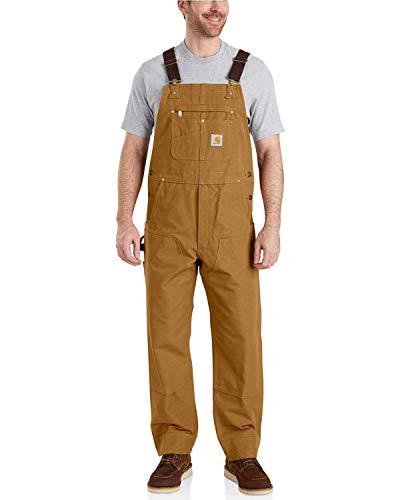 Carhartt Men's Relaxed Fit Duck Bib Overall, Brown, 42 x 32